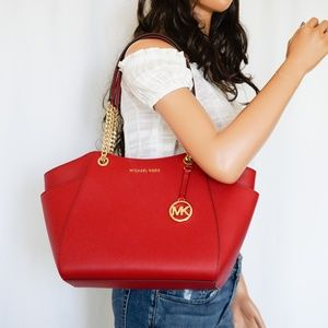 Michael Kors Jet Set Chain Leather Tote Scarlet